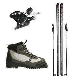 New Whitewoods 75mm 3Pin Cross Country Package Skis Boots Bindings Poles 197cm (40, 151-180 lbs.)