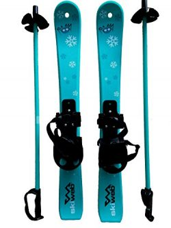 Kids First Plastic Snow Skis & Poles Age 2- 4 (approx 28″)