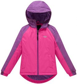 Wantdo Girl's Warm Windproof Ski Jacket Fleece Lined Hoodies Rain Wear(Rose Red+Purple, 6/7)