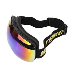 ULKEMEOutdoor Winter Ski Goggles Double Changeable Lens Anti-fog Glasses Windproof Black