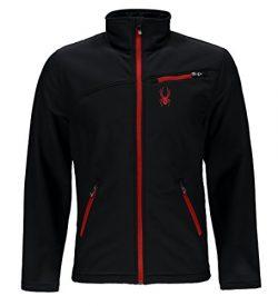 Spyder Men's Softshell Jacket, Black/Racing Red, X-Large