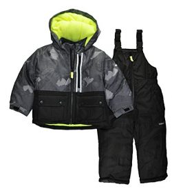 OshKosh B'Gosh Osh Kosh Little Boys' Ski Jacket and Snowbib Snowsuit Set, New Black, 5/6