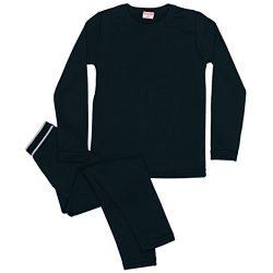 Rocky Boy's Fleece Lined Thermal Underwear 2PC Set Long John Top and Bottom (S, Black)