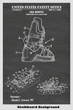 Ski Boots Patent Print Art Poster: Choose From Multiple Size and Background Color Options