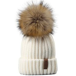 Kids Winter Knitted Pom Beanie Bobble Hat Faux Fur Ball Pom Pom Cap Unisex Kids Beanie Hat,White ...