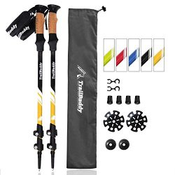 TrailBuddy Hiking Sticks – 2-pc Pack Adjustable Walking or Trekking Poles – Strong,  ...
