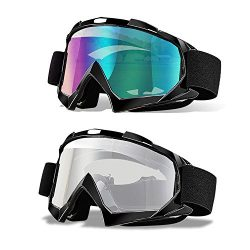 Ski Goggles, Pack of 2, CarBoss Motorcycle Snowboard Goggles 100% UV 400 Protection, Anti-Glare  ...