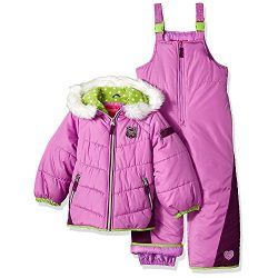 London Fog Little Girls' Snowsuit With Snowbib and Puffer Jacket, Purple/Lime, 5/6