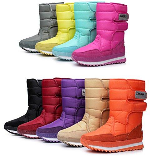 DADAWEN Women's Waterproof Frosty Snow Boot Khaki US Size 9.5