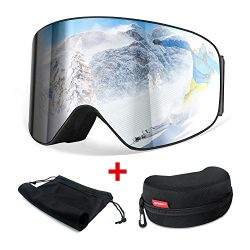 HAMSWAN Ski Snowboard Snow Goggles Anti-fog OTG UV400 Protection Detachable Double Lens for Wint ...