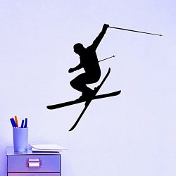 Wall Decal Vinyl Sticker Downhill Skiing Skier Ski Snow Freestyle Jumping Extreme Sports Wall De ...