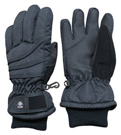N'Ice Caps Kids Bulky Thinsulate Waterproof Winter Snow Ski Glove With Ridges (Black Solid ...