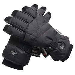 HighLoong Black Men Waterproof Thinsulate Winter Cold Weather Ski Snowboard Gloves (M)