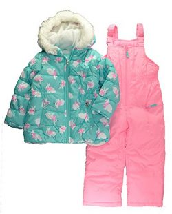 Carter's Little Girls' 2-Piece Heavyweight Printed Snowsuit, Turquoise Bunny, 6X