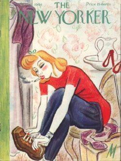 New Yorker cover De Miskey blonde ski boots 1/29 1944