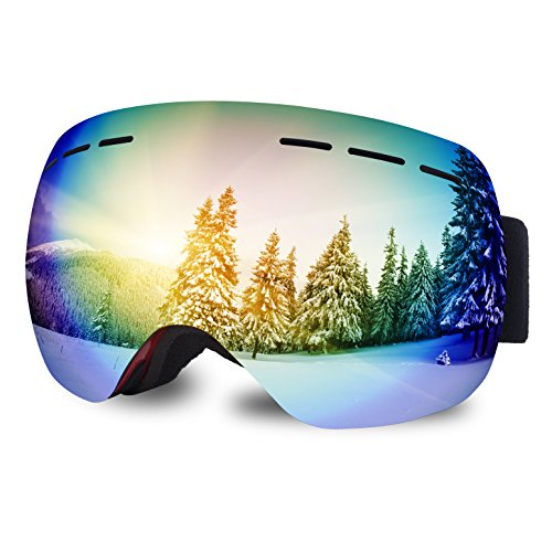 DUALF Snowboard Snow Ski Goggles Interchangeable Lens 100% UV400 Protection Anti-fog with Free P ...