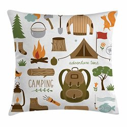 Ambesonne Adventure Throw Pillow Cushion Cover, Camping Equipment Sleeping Bag Boots Campfire Sh ...