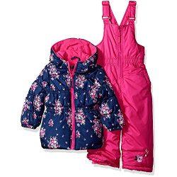 Pink Platinum Toddler Girls' Printed Super Snowsuit, Navy, 2T