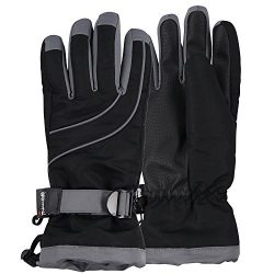 Women's Thinsulate Lined Waterproof Ski Glove (Black/Dark Grey, Medium/Large)