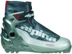 Alpina S Combi Sport Series Cross-Country Nordic Ski Boots, Silver/Charcoal, 38