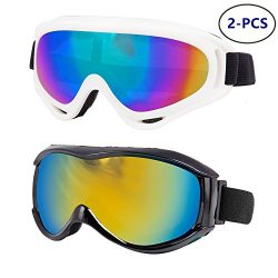 LJDJ Ski Goggles, Pack of 2 – Snowboard Adjustable UV 400 Protective Motorcycle Goggles Ou ...