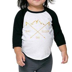CKND Eat Sleep Ski Poles Gold Unisex 100% Cotton Raglan 3/4 Sleeve Baseball T Shirts Tops