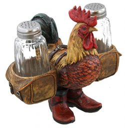 Funky Western Rooster w/ Cowboy Boots & Saddle Bags Salt & Pepper Shaker Set