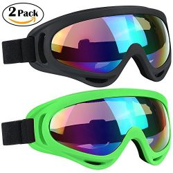 Ski Goggles 2 Packs, Multicolor Lenses Snow Goggles with Wind Dust UV 400 Protection for Women M ...