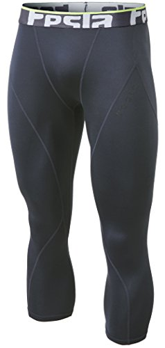 Tesla TM-YUC32-DGY_Medium Men's Thermal Wintergear 3/4 Capri Shorts Compression Baselayer  ...