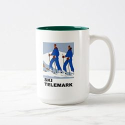 Zazzle Ski Telemark Skiing Skier Winter Powder Snow Coffee Mug, Hunter Green Two-Tone Mug 15 oz