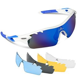 HODGSON Sports Polarized Sunglasses for Men or Women, UV400 Protection Sports Glasses with 5 Int ...
