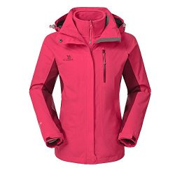 Camel Women's 3-in-1 Systems Jacket Waterproof Color Coral Red Size X-Large