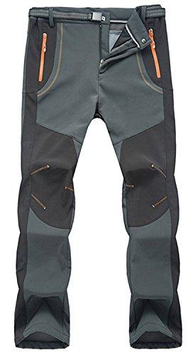 TBMPOY Men's Lightweight Winter Windproof Fleece Lined Snow Ski Pants(02 thick grey,us XL)