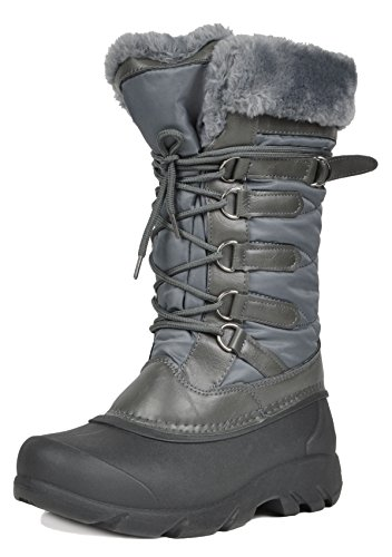 DREAM PAIRS Women's Tapanz Grey Faux Fur Lined Mid Calf Winter Snow Boots Size 9 M US
