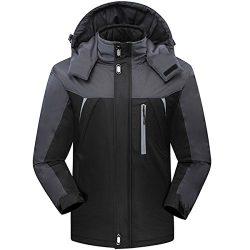 CROTI Men's Ski Jackets Waterproof Windproof Fleece Jackets Mountain Hooded Jackets Outdoo ...