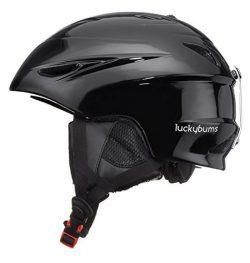 Lucky Bums Alpine Men Women Audio Chip Ready Ski Helmet, Black, L