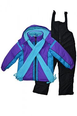 Snowsuits for Kids Girl's 3-Piece Fleece Lined Active Snowsuit (6X, Berry Purple/Aqua)