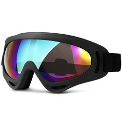 NeeGo Snowboard Windproof UV Protection OTG Ski Goggles UV400 Anti-Fog Glare Lens