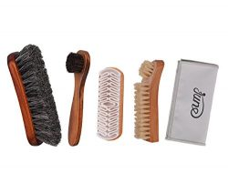 Shoe Shine Brush Kit 4 in 1 with Soft Horsehair Bristle Brush, Crepe Suede Brush, Boar Bristle B ...
