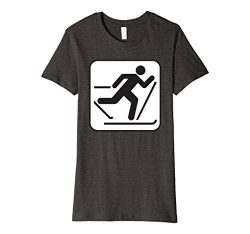 Womens Cross Country Skiing Shirt Winter Sport Skier T-Shirt Small Dark Heather