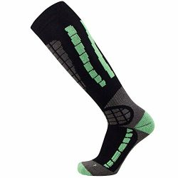 PureAthlete Ski Socks – Best Lightweight Warm Skiing Socks (Black/Mint Green, L/XL)