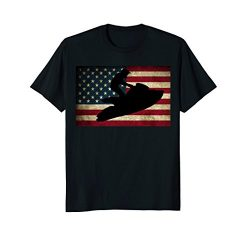 Mens Jet Ski T Shirt Jet Skier Tee Jet Skiing T-Shirt USA Flag Large Black