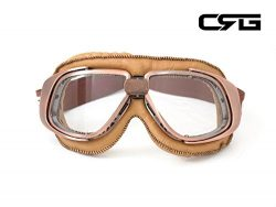 CRG Sports Vintage Aviator Pilot Style Motorcycle Cruiser Scooter Goggle T10 T10NCN Transparent  ...