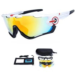 My case diy store Polarized Sports Sunglasses with 3 Interchangeable Lenses UV400 Protection Cyc ...