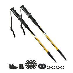 Trekking Hiking Poles, Sandure Adjustable Retractable Anti-Shock Lightweight Aluminum Stick for  ...