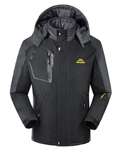 iLoveSIA Men's Mountain Waterproof Fleece Ski Jacket Windproof Rain Jacket Black Size XL