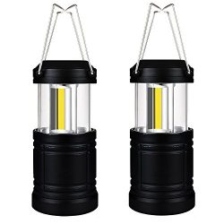 Uninex (2 Pack) Black Collapsible Led Lantern Ultra Bright COB LED Magnetic Base