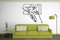 Skiing Wall Decal Ski Vinyl Stickers Ski Decal Skier Art Decal Ski Jumping Freestyle Sports 533RE