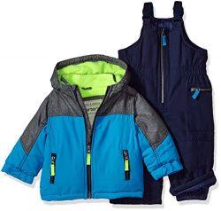 Carter's Baby Boys Heavyweight 2-Piece Skisuit Snowsuit, Teal/Grey/Neon Yellow, 12M