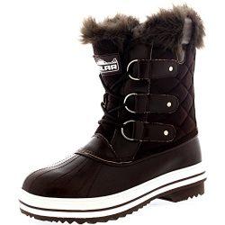 Womens Snow Boot Nylon Short Fur Rain Winter Waterproof Snow Warm Boots – Brown – 11 ...